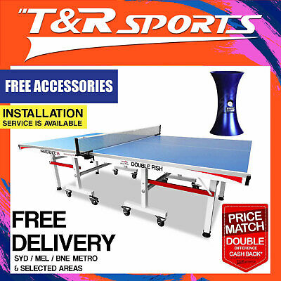 New 16mm Double Happiness Ping Pong Table Tennis Table Black Surface Free Acc.