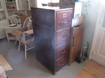 Antique 4 Drawer File Cabinet Wood Mahogany Finish Heavy Built