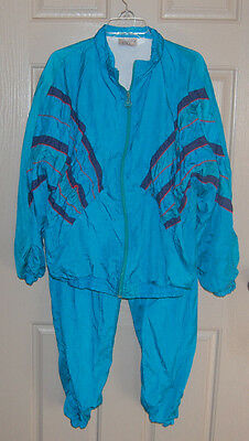 Vintage 80s Blue VENGO Color Block LARGE Windbreaker TRACK SUIT Jacket Pants L