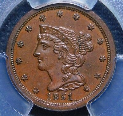1851 Braided Hair Half Cent PCGS 62 Brown solid surfaces for the grade