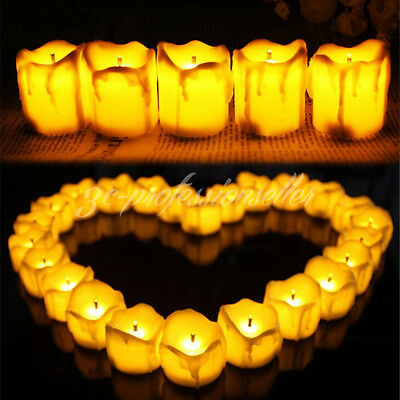 12/24x Flickering Smokeless Fake Dripping Wax Candle Battery Operated Tea Lights