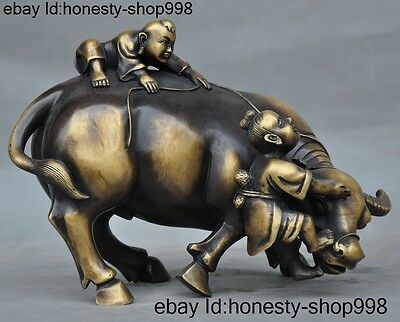 "10""Old Chinese bronze fengshui Boy Cattle ox Zodiac animal lucky statue"