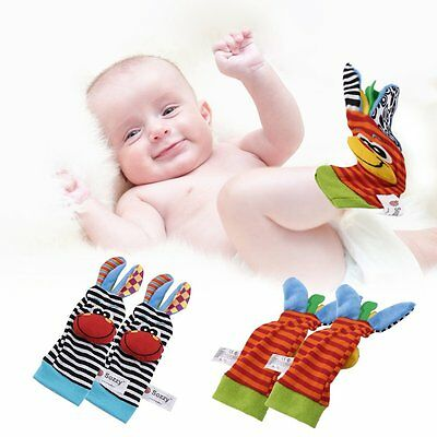 4pcs/set Cute Animal Infant Baby Kids Hand Wrist Bell Foot Sock Rattles Soft Toy