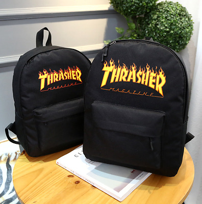 2017 New Men Women Thrasher Flame Backpack School Bag Unisex Travel
