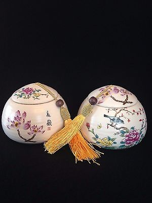 NIB Set of 2 White Chinese Ceramic Tea Caddy Sealed Cans With Flowers Pattern