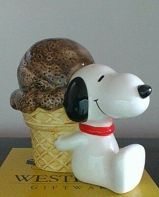 Vintage Peanuts Snoopy Ice Cream Bank With Stopper Mint RARE!