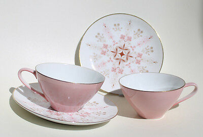 Vintage Pair Noritake Tea Cup & Saucer Set~ Pink~Gold Rimmed~Fine China~ Lot 2