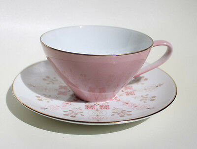 Vintage  Noritake Tea Cup & Saucer Set~ Pink~Gold Rimmed~Fine China~ Lot 3