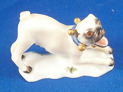 Great Meissen Porcelain Miniature Pug Dog Figurine Figure Porzellan Mops Figur