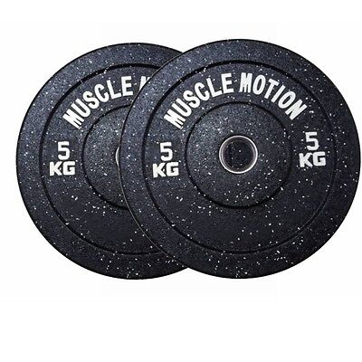 Pair Of 5Kg High Temp Bumper Plates For Gym Exercise Weight Lifting