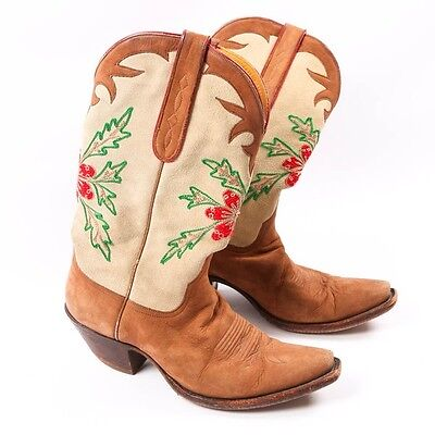 Women's STALLION Handmade Embroidered-Like Cowboy Boots US Size 8C