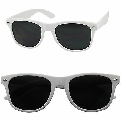 ShadyVEU - Unisex Round Dark BlackOUT Lens White Frame Retro 50 mm OG Sunglasses