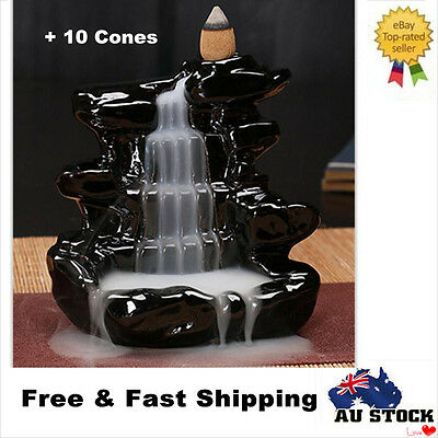 Ceramic Waterfall Incense Burner Backflow Censer Tower Holder With 10 Cones New