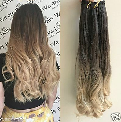 6A Brazilian Virgin Clip in Human Hair Extensions Ombre Blonde 7pcs/100g