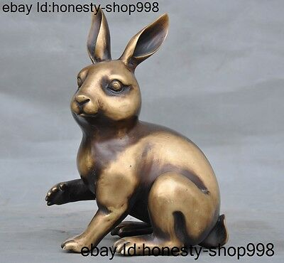 Old Chinese bronze fengshui rabbit Zodiac lucky auspicious animal statue