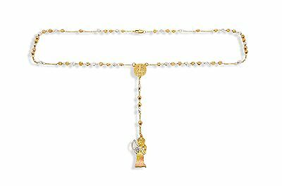 Santa Muerte 14K Gold Filled Rosary Tricolor Rosario Holy Death Necklace Collar