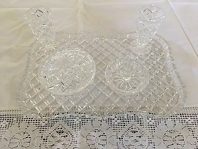 Vintage 1979 Bohemia handcut lead crystal dressing table 5 piece set, good cond