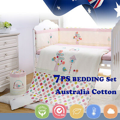7pcs Baby Crib Bedding set Bumpers Quilt Cover Pillow Cot Sheet Newborn Gift