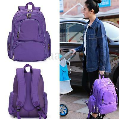 Purple Baby Nappy Diaper Mummy Mother Shoulder Backpack Travel Changing Bag