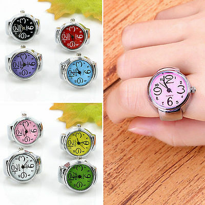 Funny Creative Steel Round Elastic Quartz Finger Ring Watch Lady Girl Gift