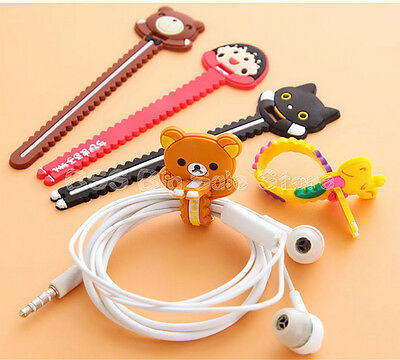 Cartoon Buttoned Headset Storage Wire Finishing Winding Clamp Bundled Threads