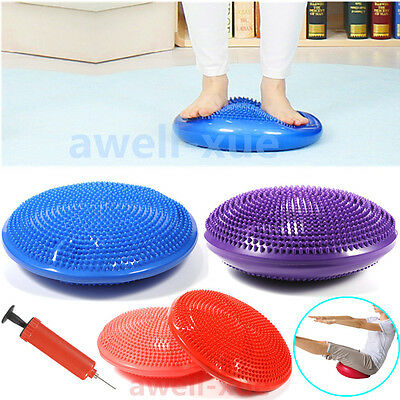 33CM Inflatable Air Yoga Massage Cushion Balance Training Pad Mat with Pump
