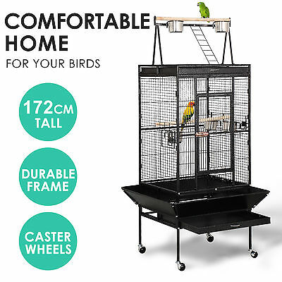 Large Metal Pet Bird Parrot Canary Cage With Play Roof Top Ladder Wheels 172cm