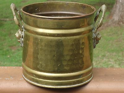 Vintage Brass Pot Planter Jardiniere with Lion Head Handles