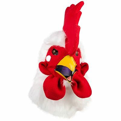 Rooster Mask Full Head Faux Fur with Moving Mouth Party Fancy Dress Thumbs Up
