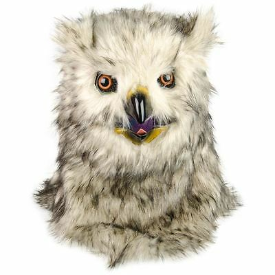 Owl Mask Head Faux Fur with Moving Mouth Party Fancy Dress Thumbs Up