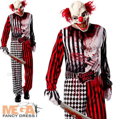 Evil Clown Mens Fancy Dress Halloween Circus Gore Scary Spooky Adults Costume