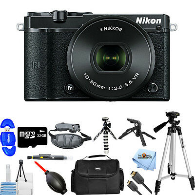 Nikon 1 J5 Mirrorless Digital Camera with 10-30mm Lens (Black)! PRO BUNDLE NEW!!