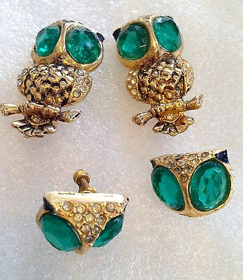 Vintage unsigned Coro duett owl - pins and earrings