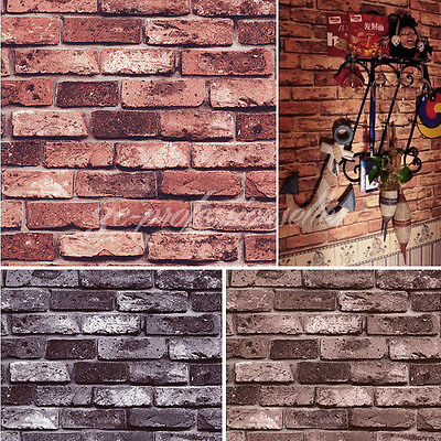 10M PVC 3D Realistic Effect Rustic Loft Bricks Textured Feature Wall Wallpaper