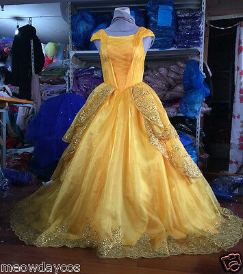 NEW Belle Costume Adult Girl Beauty and the Beast Princess Dress Party Halloween