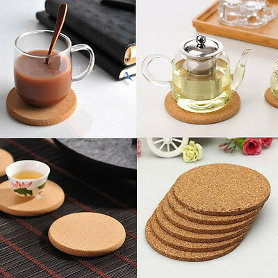 6× Coasters Drink Cup Mat Coffee Cork Round Placemats Plain Tea Wine Tablemats