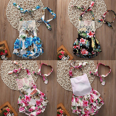 Cotton Newborn Baby Girl Floral Romper Bodysuit Jumpsuit Outfits Dress Headband
