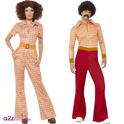 Mens Womens 70s Authentic Chic Guy Adult 1970s Disco Flares Fancy Dress Costume