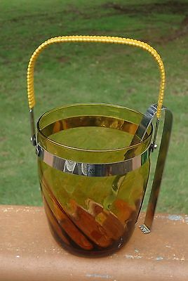 Lovely Vintage Amber Glass Ice Bucket with Royal Stainless Steel Ice Tongs