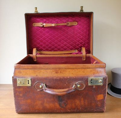 Antique Leather, Brass & Silk Lined Top Hat Case. Large Hat Box Travel Trunk.