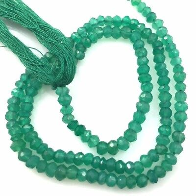 Gemstone Beads-Green Onyx Faceted Rondelle Stones-May Birthstone 3.5-4mm-13.5""