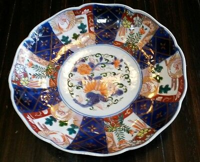 "Antique Japanese Imari Ware 8 1/2"" Hand Painted  Scalloped Bowl"