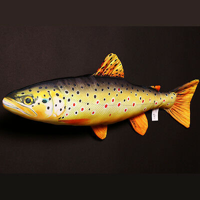 GABY BABY BROWN TROUT FISH PILLOW / TOY 36cm