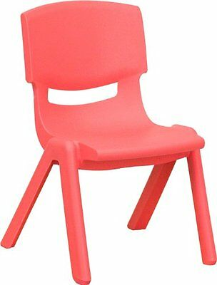 FLSH-YUYCX003REDGG-Flash Furniture YU-YCX-003-RED-GG Red Plastic Stackable Scho