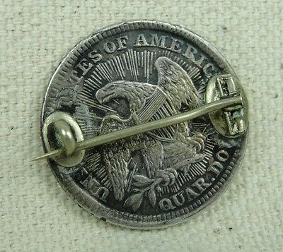 1853 ARROWS and RAYS Seated Liberty Quarter LOVE TOKEN PIN