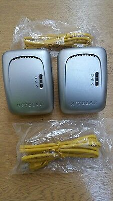 2 x Netgear XE102 Wall-Plugged Bridge, Powerline, Homeplug + 2 x Ethernet Cables