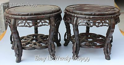 "8"" China Dynasty Wood Carved Hollow Out Design 2 Layer Tablet Chair Stool Pair"