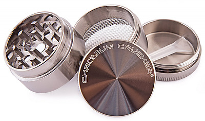 Herb Grinder Space Case Top Magnetic Tobacco Multi 1.6 Inch 4 Piece Pc Gunmetal