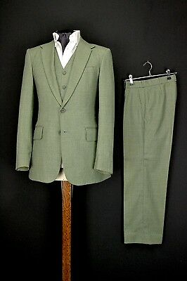 "34"" Regular Lord John 3 Piece Suit Green 1970s Carnaby Street"