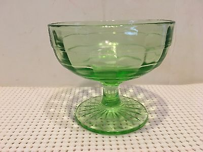 "Vintage Depression Vaseline Glass Green Ribbed 3"" Dessert/sherbet Dish"